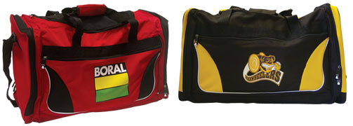 Digital printing examples on team sport bags