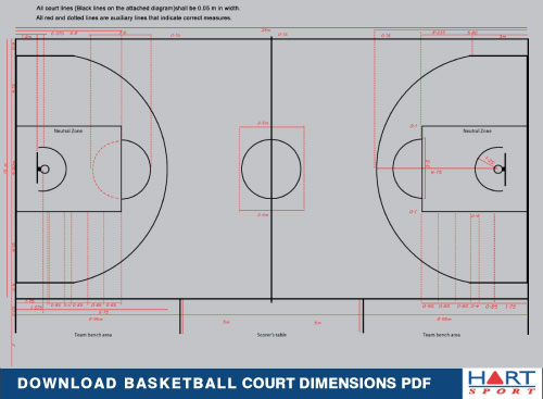 Basketball information hart sport new zealand for Small basketball court size
