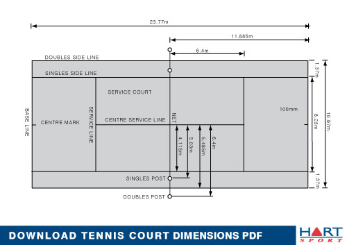 Tennis information hart sport new zealand for Sport court size